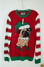 NWT Ugly Christmas Sweater Pug Women's M Pug Elf Holiday Party Green Red Bell 3D