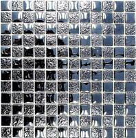 Glasmosaik schwarz mix Struktur Wand Küche WC Bad Art:WB88-8LU89|1Matte