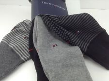 Men's TOMMY HILFIGER Black Gray Striped 73% COTTON Dress Socks - 4 Pack-$36 MSRP