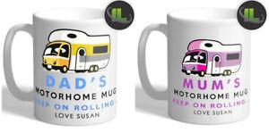 Personalised Dad Mum Motorhome Mug Campervan Mug. Customise with your own text.