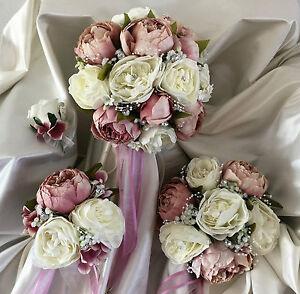 Wedding Flowers dusky pink peony Crystal Bouquet, Bride/Bridesmaids/Buttonholes