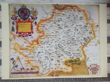 Decorative County Map Hertfordshire, Book Plate Print By Christopher Saxton 1576
