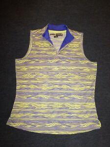 Jamie Sadock women's purple/gray/chartreuse print sleeveless golf shirt Sz S