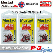 3 Packets Mustad Big Red Hooks Size 1 Chemically Sharpened 2X Strong 92554NPNR