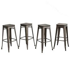 "Set of 4 30"" Barstools with Wooden Seat Bronze As Is"