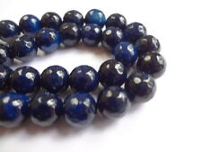 8mm Genuine(Dyed) Blue Agate Faceted Round Semi Precious Gemstone Beads, 15""