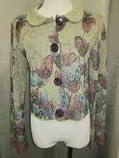 CATHERINE ANDRE LIGHT GREEN PINK FLORAL COLLARED CROPPED CARDIGAN SZ L