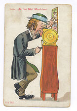 Ca. 1910 OLD MAN W/ MUTOSCOPE SLOT MACHINE W/ SEXY WOMAN MARQUEE POSTCARD