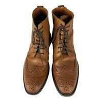 Stafford Men's Brown Leather Lace-Up Brogue Wingtip Ankle Boots Size US 9M