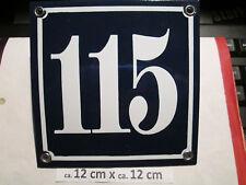 Hausnummer  Emaille Nr. 115 weisse Zahl auf blauem Hintergrund 12 cm x 12 cm
