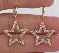 18K Gold Filled - Chic Earrings Lucky Star Zircon Topaz Gems Ear Hoop Women Prom