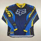 Vintage Fox Racing RS Jersey Motocross MX Shirt Dirt Bike Blue Yellow Mens Large