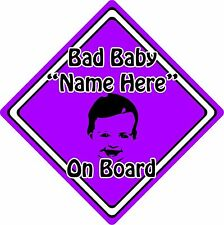 Personalised Bad Baby/Child On Board Car Sign ~ Baby Face Silhouette ~ Purple