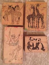 4 Used Zoo Animal Wood Mounted Large Rubber Stamps - Giraffe Monkey Panda Zebra