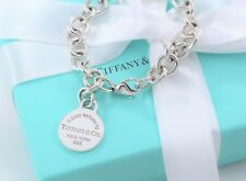 """Please Return to Tiffany & Co Silver Round Tag Charm 7.5"""" Bracelet BOXED $330+"""