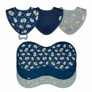 green sprouts Muslin Stay-Dry Teether Bibs & Burp Cloths Set Made from Organi...
