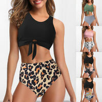 Women Two Pieces Front Tie Knot High Waisted Bottoms Bikini Swimsuits Raceback*+