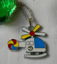 Kids Childrens Boys Girls Jewellery Silver Plated Necklace Helicopter Pendant