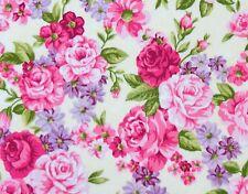 Romantik Rosenstoffe Stoff Pink Rosen auf Creme Blumen Blätter Blüten Baumwolle