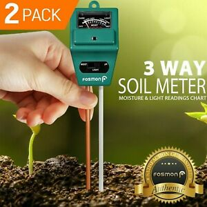 Fosmon 2x 3in1 Home Garden Lawn Pot PH Soil Meter Moisture Sensor Light Tester