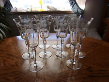 "Cut Wine Etched Floral Blown 7 7/8"" - Set of 10"