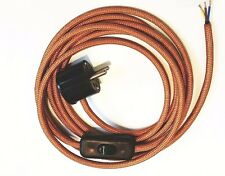 Cable Textil Alimentación 3-adrig para Lámparas Enchufe Schuko Interruptor Cobre