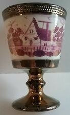 Pink & Copper Lustre Goblet c.1830's English Staffordshire Pottery Cottage Home