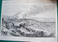 1870 ANTIQUE PRINT- VIEW OF THE CREUZOT COLLIERY AND IRONWORKS IN BURGUNDY