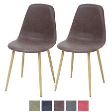 Esszimmerstühle BELFAST 2er Set Braun Retro Vintage Leder Küchen-Stuhl Design