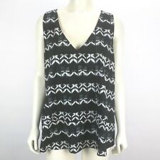 Merona Black White Sleeveless V-Neck Geo Print Blouse Tank Top Plus Size: XXL