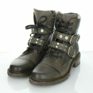 03-01 NEW $428 Women's Sz 6 B Frye Samantha Stud Hiker Boots In Gray