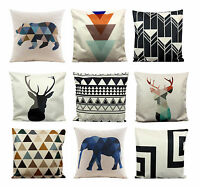 Pillow Case Cushion Cover Stylish Geometric Stag Elk Bear Cotton Linen Fabric