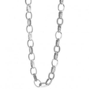 """Lagos Sterling Silver Necklace Link Caviar & Smooth Chain  24"""" New!"""