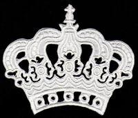 au63 Krone Weiß Prinzessin Aufnäher Bügelbild Patch Applikation Bügelsticker Neu