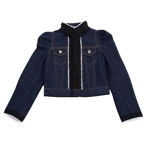 RRP€250 DSQUARED2 Denim Jacket Size 8Y Lace Inserts Buttons Trim Stand Up Collar