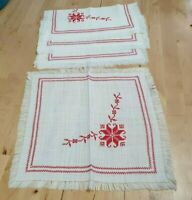 4 x Vintage Embroidered Cross Stitch Napkins Serviettes Folk Scandi Farmhouse