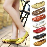 Casual Womens Genuine Leather Ballet Flats Shoes Oxfords Hollow Lady Loafers New