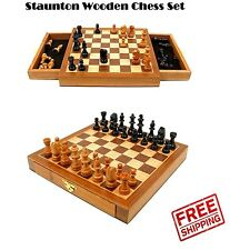 Wood Chess Board Kit Inlaid Game Box Storage Cabinet Staunton Table Magnetic