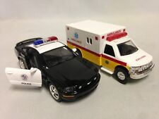 "2 pcs Ford Mustang GT Police & Ambulance Rescue Emergency Car 5"" Die Cast Toy YL"