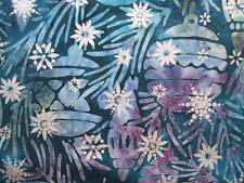 Noel 4 Winter Blue Ornament Snowflake Christmas Batik Robert Kaufman Fabric Yd