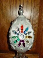 "Vintage Huge 8"" Egg Zimonick Style Christmas Easter Ornament Rhinestones MCM"