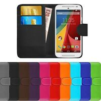 Premium Luxury Leather Flip Wallet Case Cover For Motorola Moto G2 (2nd Gen)