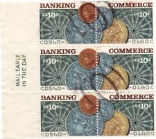 USA 1975 BANKING COMMERCE Coins Block of 6 Postal used as Scan 18704