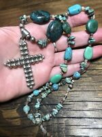 """#962 Vintage Ball Bead Cross, Chunky Turquoise 23"""" Necklace, Sterling Silver 925"""