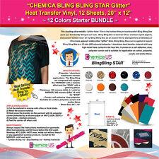 Chemica Bling Bling Star Glitter Heat Transfer Vinyl 12 Sheets 20x12 Bundle