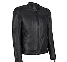 Kawasaki RS Leather CE Armoured Jacket Motorcycle Bike Vintage Style Black Retro