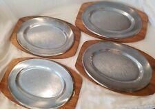 "4 Steak Fajita Stainless Steel Platter Plates 12.5"" x 8.25"" with Monkey Pod Wood"