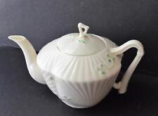 Vtg BELLEEK 6th Green Mark Bone China Ireland SHAMROCK HARP Handle 2 Cups Teapot
