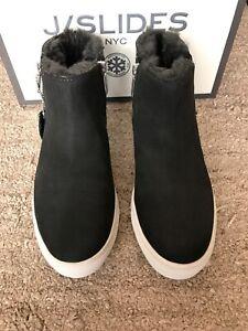 J Slides Poppy Ankle Booties Grey Nubuck Faux Fur Sz 7.5 Waterproof NIB $170