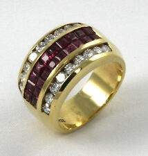 "Diamond Ring ""Invisible Set"" 18k YG w/ 0.92ct Diamonds+1.62ct Ruby ""CLOSE OUT"""